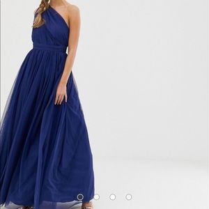 ASOS Navy tulle one shoulder maxi dress NWT sz 2